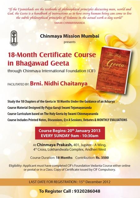 18 Month Certificate Course in Bhagwad Gita   Chinmaya Mission ...