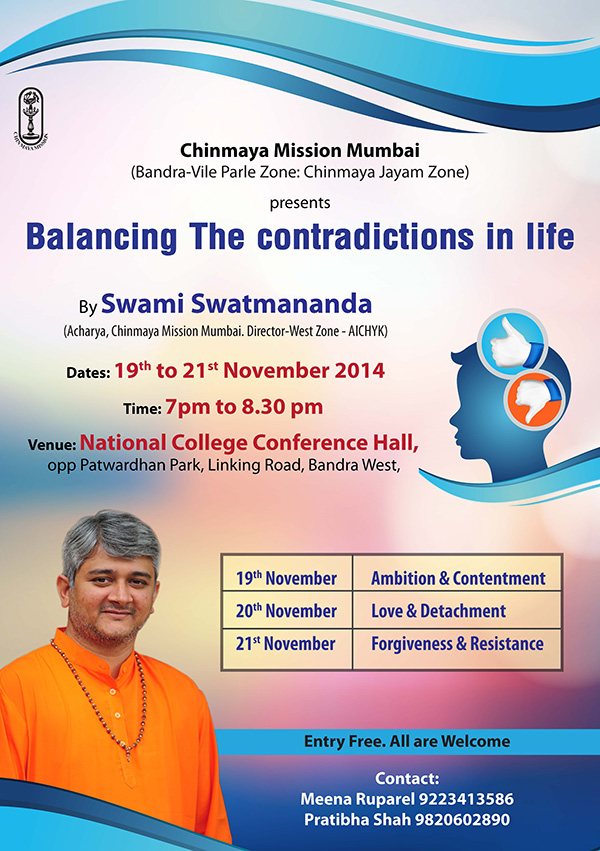 Balancing The contradictions in life Swami Swatmananda