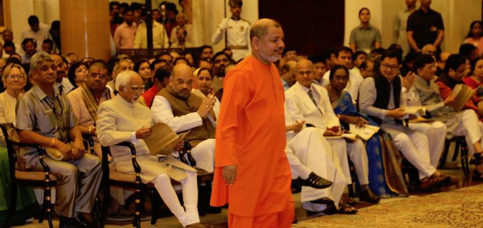 "Guruji Swami Tejomayananda receives the ""Padma Bhushan"" Award by the President of India"