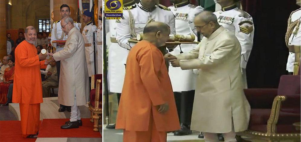 "Pujya Guruji Swami Tejomayananda receives the ""Padma Bhushan"" Award by the President of India"