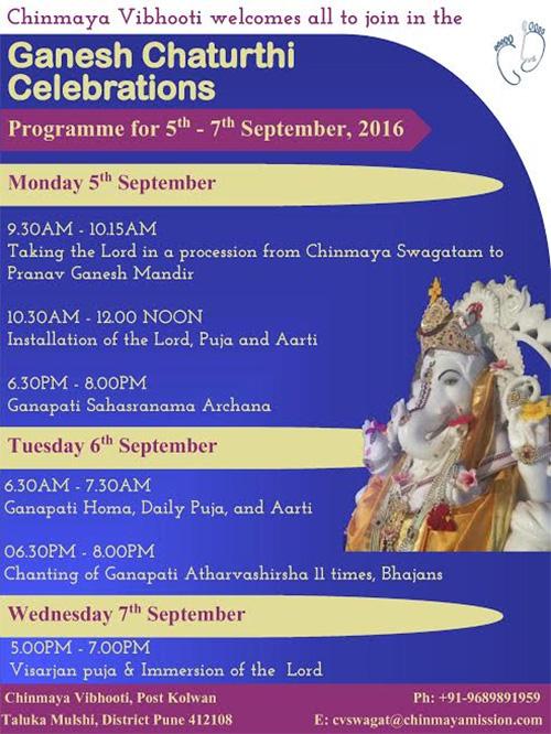 Ganesh Chaturthi at Pranav Ganesh Mandir, Chinmaya Vibhooti