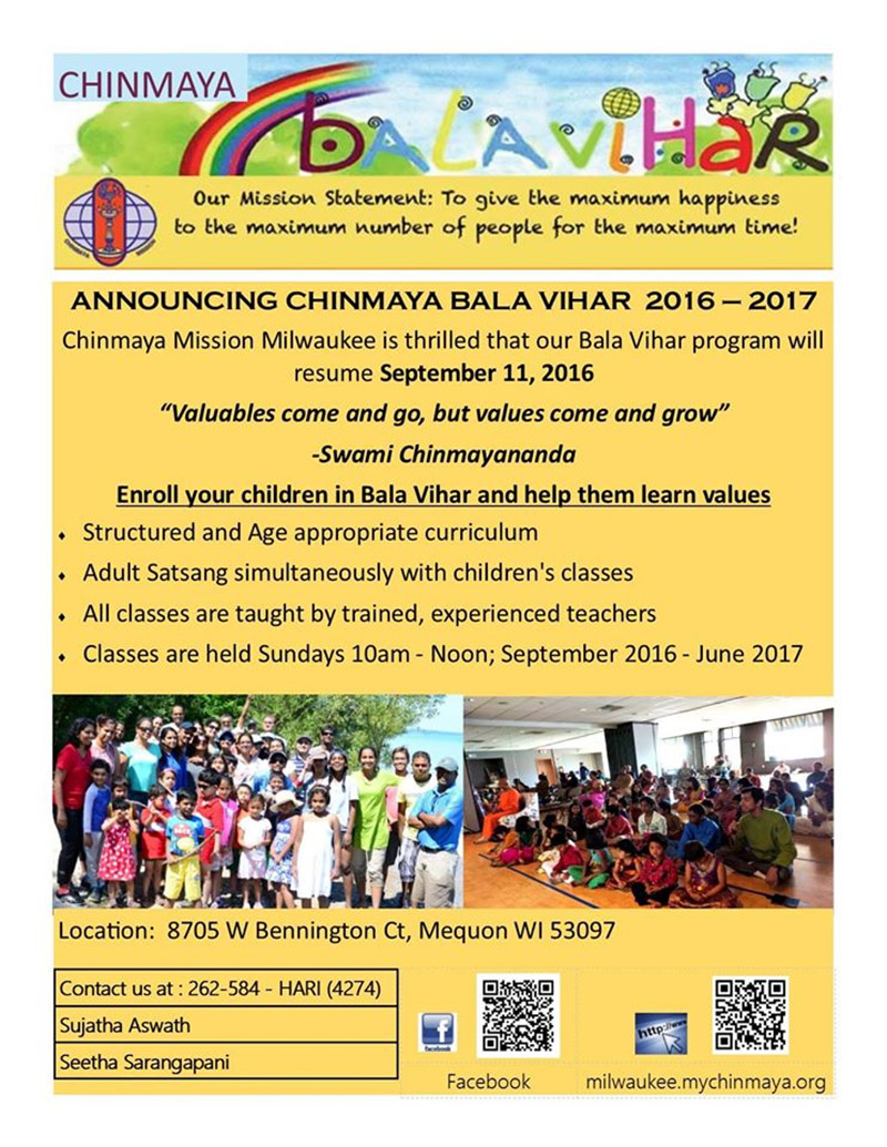 Registrations for the Chinmaya Balavihar 2016